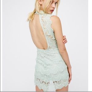 FREE PEOPLE SEAFOAM LACE DAYDREAM BODYCON